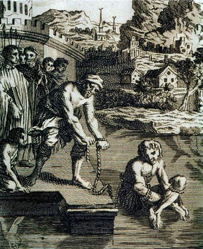 Ксилография XVII в., на которой изображена Ордалия (от англосакс, ordal — «приговор», «суд»). Так ведьм в средние века заставляли признаться в своих грехах. То есть пытали огнем, водой и применяли прочие методы истязаний, дабы установить богомерзкую правду при отсутствии свидетельских пока¬заний. Поскольку невиновный, подвергаясь испытанию, находится под Господним покровительством, Ордалии не причинят ему вреда.