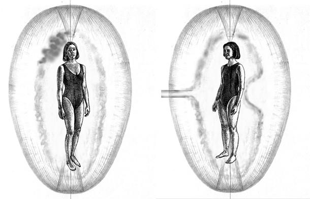 Слева показано, что происходит с тонким телом женщин, когда на нее наведена порча, справа - сглаз.