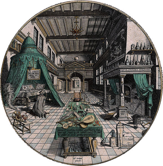 alchemist's workshop from Heinrich Khunrath, Amphitheatrum Sapientiae, 1595