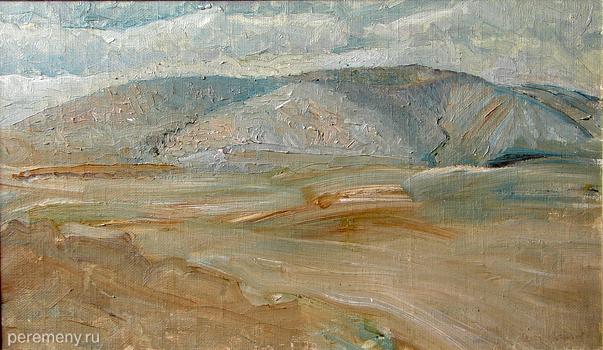 Картина Олега Кроткова - Холмы пустыни,  2000 орг.м. 43х72