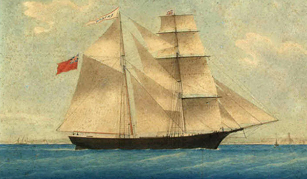 Рисунок судна Amazon (позже переименованного в Mary Celeste). Автор и год неизвестны.