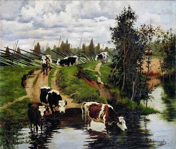 Алексей Степанов. Коровы на водопое, 1908