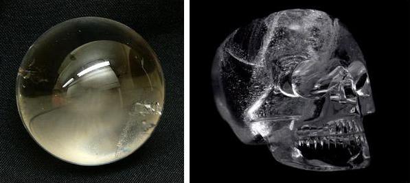 Слева - магический кристалл, справа - череп из Юкатана.