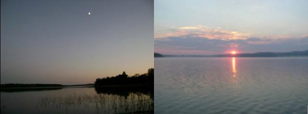 Слева - вечер на Тургае, справа -восход на Балхаше