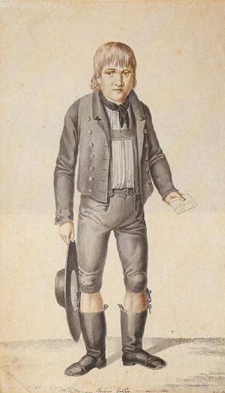 Молодой Каспар Хаузер — рисунок Иоганна Георга Ламинита (1775—1848)