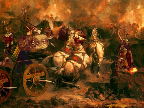 Кухулин в огне битвы. Художник: Howard David Johnson