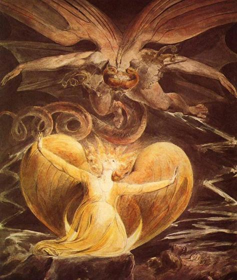 Уильям Блейк. Большой красный дракон и жена-солнце, 1810, Вашингтон