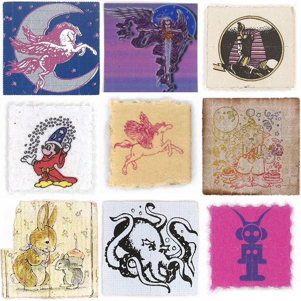 Примеры оформления марок (промокашек, пропитанных раствором ЛСД), навевающего пациента на нужный лад
