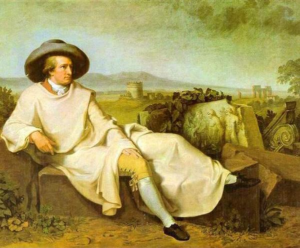Johann Heinrich Wilhelm Tischbein : Goethe in der Campagna. 164x206 cm. Öl auf Leinwand. 1786/87. Frankfurt a. M., Städelsches Kunstinstitut