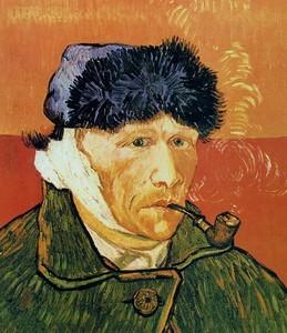Автопортрет с отрезанным ухом и трубкой Винсента Ван Гога