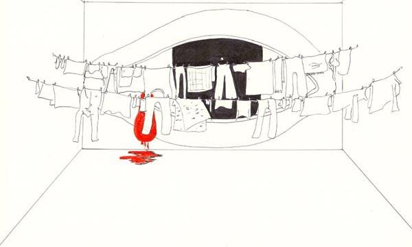 """Проект инсталляции Дмитрия Пригова. Пригов писал: """"Все проекты моих инсталляций представяют собой изображение некоего модельного пространства, которое в реализации в пределах конкретного помещения, конечно же, модифицируются соответственно ему, изменяясь порой до неузнаваемости. Но на бумаге оно существуют в первозданной чистоте и нетронутости. Через это модельное инсталляционное пространство фантомов проходят многочисленные предметы и обитатели окружающего мира, обретая различные масштабы и сочетания, но окрашиваясь в основные неварьирующиеся цвета. В три метафизических цвета, кстати, основных цвета русских икон и русского авангарда начала века - черный, белый и красный""""."""