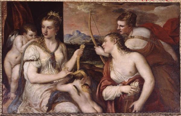 Тициано Вечелио. Tiziano Vecellio Venera che benda Amore. Около 1565