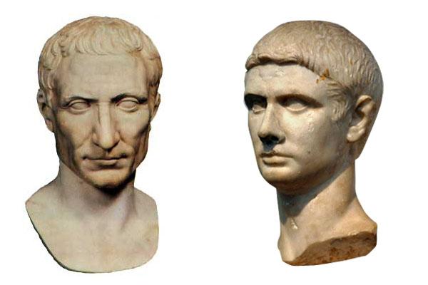 Слева - Юлий Цезарь, справа - Юний Брут