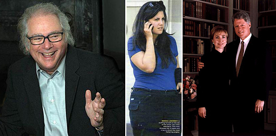 Слева направо: Барри Левинсон, режиссер фильма Wag the dog, далее толстуха Моника Левински, примадонна напророченного (или все же спровоцированного) Левинсоном (какое сходство фамилий) скандала, ну и - статисты Клинтоны