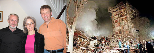 Справа    взорванный дом в Москве на улице Гурьянова. Это случилось в ночь на 9 сентября 1999 года. Странно, не правда ли, взрываются эти дома - 9, 13, а в Америке уже попадание - 11 сентября. На снимке слева покойные Анна Политковская и Александр Литвиненко в Лондоне. Даже не знаю, кто с ними стоит. Наверно, какой-нибудь посторонний англичанин.