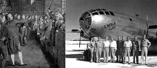 Слева возбуждение американцев накануне войны за независимость. Справа самолет, с которого была сброшена атомная бомба на Хиросиму