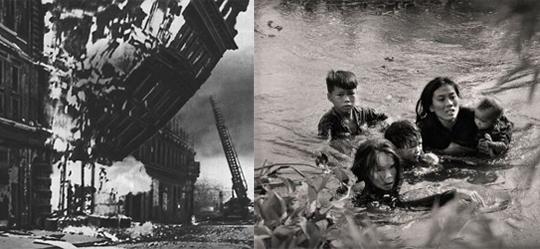 Бомбардировка Лондона в 1940 году. Справа мать с детьми переплывает через реку, спасаясь от американских бомб во Вьетнаме