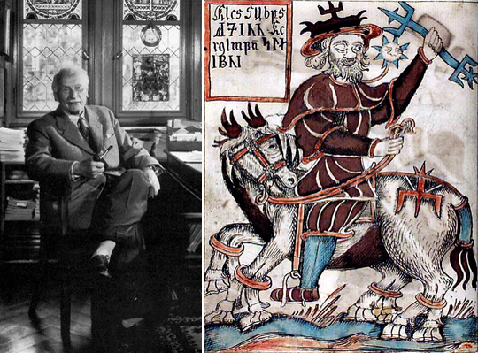 Слева Юнг в своем кабинете. Справа германский бог одноглазый Вотан