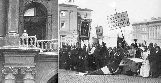 Слева Николай II показался на балконе Зимнего дворца. Сейчас будет объявлен манифест о вступлении России в Первую мировую войну. Справа публика, ожидающая манифеста. Это какие-то специально подобранные люди, вялые. Настоящие патриоты в этот день будут бить стекла посольства Германии и упиваться грядущей кровью