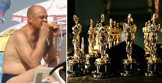 Слева Владимир Меньшов отдыхает. Справа - Оскары, Оскары, Оскары...