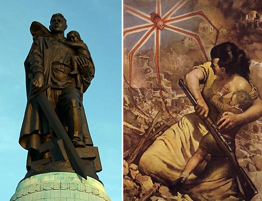 Спасение детей. Слева памятник советскому солдату в Трептов-парке в Берлине. Для чего Ваня спас эту немецкую девочку? Справа итальянский плакат 1944 года. В роли осьминожистого паука здесь Великобритания