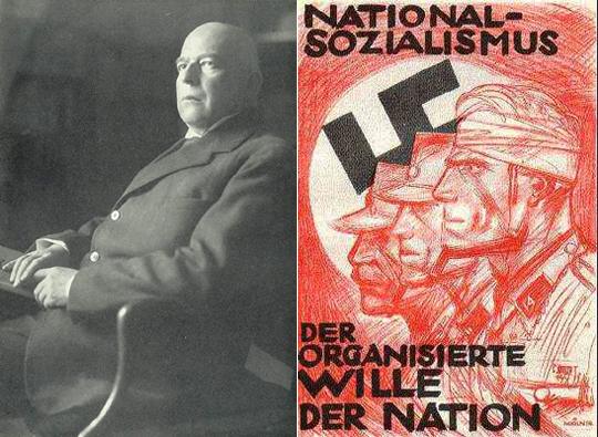 Слева Освальд Шпенглер. Справа немецкий плакат на котором написано: Национал-социализм организованная воля нации