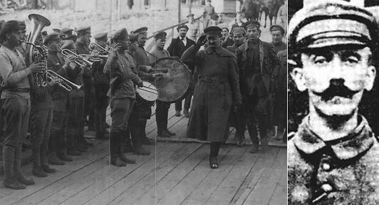 Слева наркомвоенмор Лев Троцкий (Бронштейн) на Западном фронте. Справа ефрейтор Адольф Шикльгрубер (Гитлер)