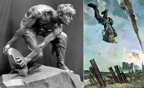 Слева скульптура Шадра. Булыжник - оружие пролетариата. 1927 г. Справа картина Дейнеки. Сбитый ас. 1943 г.