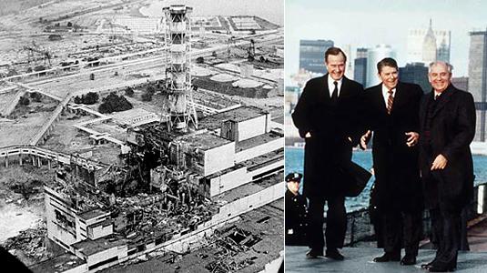 Слева Чернобыльская АЭС сразу после катастрофы. Справа вице-президент Джорж Буш, президент Рональд Рейган, генеральный секретарь Михаил Горбачев