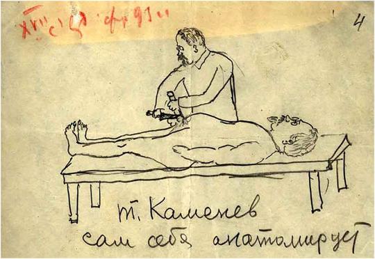 Выступление Л.Б.Каменева на XVII съезде ВКП(б). Шарж В.И.Межлаука 5 февраля 1934. Карандаш