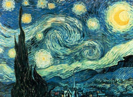 Ван Гог. Звездная ночь. Мексиканские физики установили, что на многих картинах Ван Гога представлены статистически достоверные изображения турбулентности. Возникающие при определенных условиях в течениях жидкостей и газов турбулентные вихри меняют их гидро- и термодинамические свойства. Модели турбулентности хорошо описывают большинство течений в природе – от движения земной атмосферы и воды в реках до перемещения газов в межзвездных туманностях. Произведения, изучавшиеся физиками, были созданы Ван Гогом в состоянии глубокого умственного расстройства, которое в конце концов закончилось его самоубийством