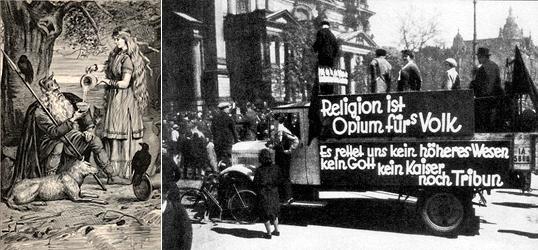 Слева Вотан. Справа коммунисты проводят антирелигиозную акцию в Берлине. Понятно, что акция эта направлена не против Вотана. Лозунги на грузовике гласят: Религия - опиум для народа. А также: Никто не даст нам избавленья - ни бог, ни кайзер, ни трибун. Вполне пролетарско-вотанические лозунги