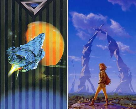 Слева звездолет будущего с обложки одной из книг Айзека Азимова. Справа, по всей видимости, Блисс, то есть Гея. Рисунок Майкла Уэлана