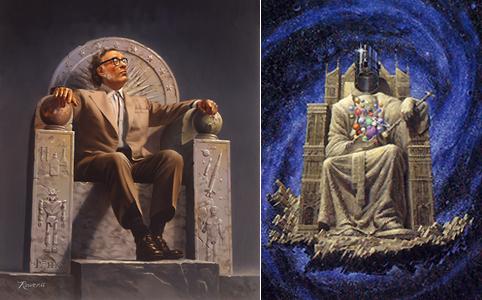 Слева Айзек Азимов на троне сионского робота, справа картинка с обложки романа Фонд и Земля