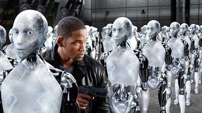Кадр из фильма по книге Айзека Азимова Я робот. Конечно, это не роботы-телепаты, но тоже - затрахали
