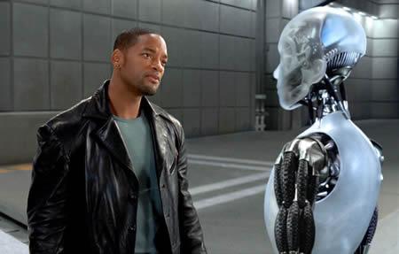 Кадр из фильма по роману Айзека Азимова Я робот. Конечно, этот человек не Тревайз, а робот - не Дэниел. Однако, какая разница?