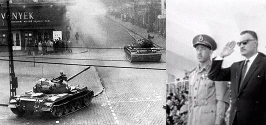 Слева советские танки в Будапште, страва Гамаль Абдель Насер принимает парад накануне националиции Суэцкого канала