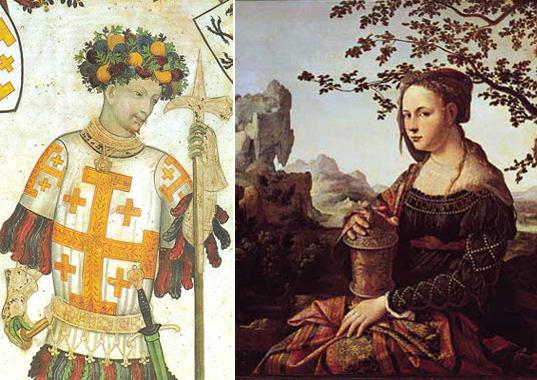 Слева Готфрид Бульонский, завоеватель Иерусалима, своего законного наследства. Справа его пра-пра-пра... бабушка (по мнению авторов разбираемый книги) Мария Магдалина