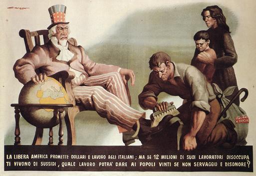 Дядя Сэм в Европе. Итальянский плакат 1944 года