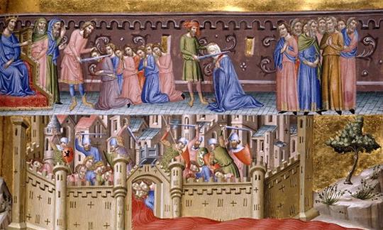 Взяв Иерусалим, крестоносцы полютовали всласть. Не разбирали, кто там еврей, мусульманин, христианин. На этой миниатюре видна человеческая кровь, обильным потоком, вытекающая из городских ворот Иерусалима