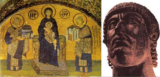 Слева Константин Великий (он справа) и Юстиниан Великий, поклоняющиеся Богородице с Младенцем (мозаика Собора Св. Софиив в Константинополе). Справа Константин Великий как он есть (римская статуя)