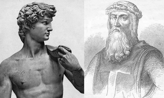 Слева царь Давид, справа Готфрид Бульонский. Действительно, по-родственному очень похожи. Давиду только надо отрастить бороду и приодеться. Желательно только иметь одежду с крестом, чтоб не попасть кому-нибудь под горячую руку