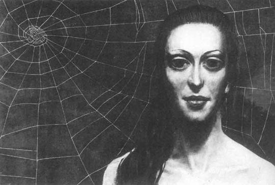 Эта картина Ильи Глазунова называется Паутина. Кто изображен на ней - паук или муха? - трудно сказать