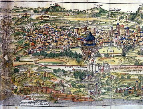 Город Иерусалим на на голландской гравюре 15-го века. Монастырь Богоматери на горе Сион где-то в левом верхнем углу. По крайней мере так утверждают авторы Тайны священной крови. Из этой книжки картинка и взята