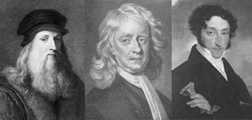 Слева направо великие магистры Приората Сиона Леонардо да Винчи, Исаак Ньютон, Шарль Нодье