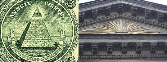 Слева масонское всевидящее око лучится на вершине долларовой пирамиды. Справа Всевидящее око в треугольнике, от которого расходятся лучи, на фронтоне Казанского собора в Петербурге