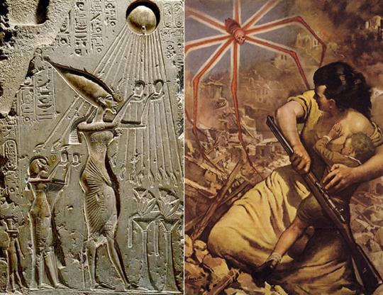 Слева фараон Эхнатон с семьей молится своему Солнцу (диску), а оно протягивает лучи и как бы ласкает молящихся. Вообще-то у этого Солнца голова змеи (такой выступ в нижней части диска, он лучше виден на на более крупном рисунке, см. выше) и, соответственно, диск смотрится брюхом паука, в каковой большую часть места занимают паутинные железы. Лучи можно интерпретировать и как паутину, и как ноги паука. Этими отростками Солнце может легко убить все живое. Слева для сравнения приведен итальянский плакат времен Второй мировой войны: английский паук на руинах Италии. Надо так понимать: к британским эхнатонам он относится с лаской