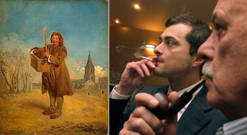 Слева Савояр Антуана Ватто. Справа Сурков (нервно курит) и Говорухин