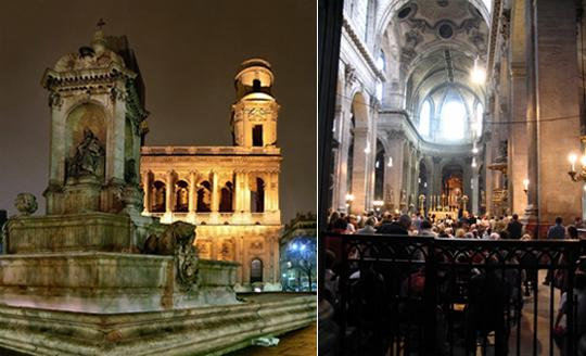 Церковь Сен-Сюльпис снаружи и изнутри. С этой церковью связаны связаны кое-какие дела Беранже Соньера, реального персонажа. А в фильме Код да Винчи именно здесь белобрысый агент Opus Dei ищет нечто и убивает монахиню