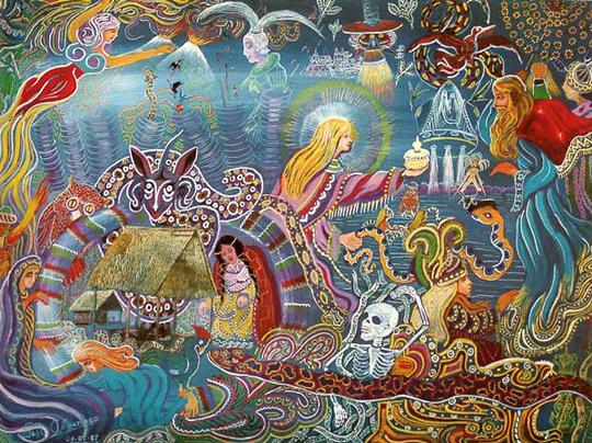 Картина Пабло Амаринго, перуанского психоделического художника и шамана. Его открыл Деннис Маккенна, брат знаменитого Теренса Маккены